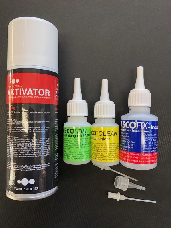 Pasco Fix Sekundenkleber 50ml Set plus Aktivator Spray