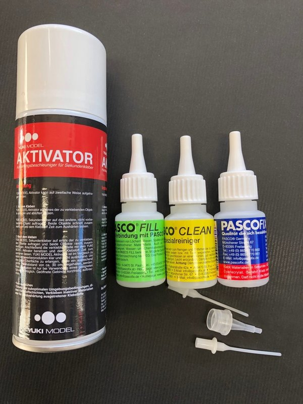 Pasco Fix Sekundenkleber 20ml Set plus Aktivator Spray